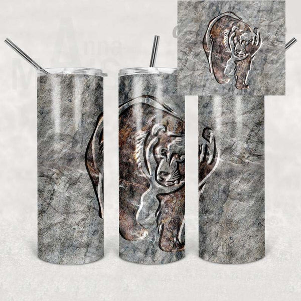 Masculine Bear Straight or Tapered 20 oz Skinny Tumbler Sublimation Transfer  SDA001