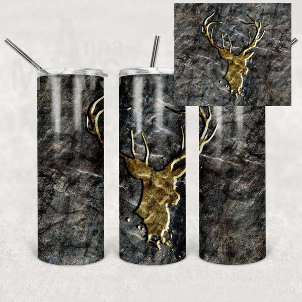 Masculine Deer Straight or Tapered 20 oz Skinny Tumbler Sublimation Transfer  SDA003