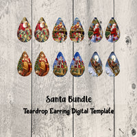 Santa Teardrop Earrings Digital Template