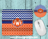 Blue and Orange Mousepad and Coaster Sublimation Template
