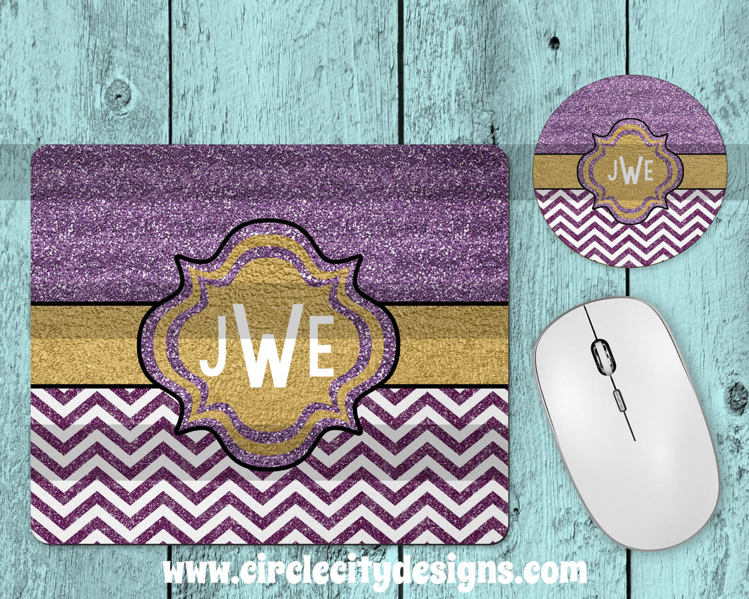 Purple and Gold Mousepad and Coaster Sublimation Template