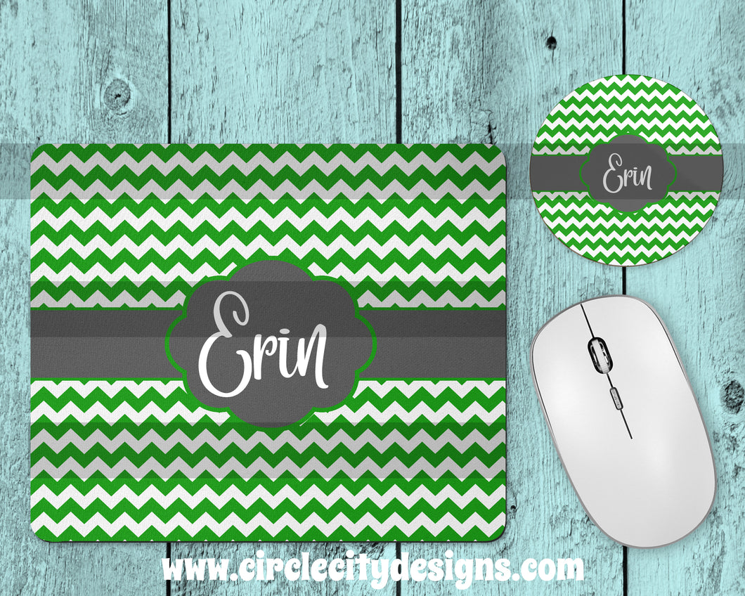 Lime and Grey Mousepad and Coaster Sublimation Template