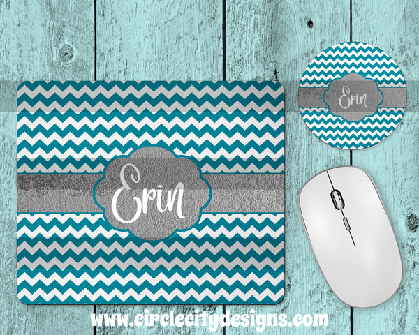 Teal and Silver Mousepad and Coaster Sublimation Template