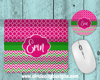 Fuchsia and Lime Mousepad and Coaster Sublimation Template