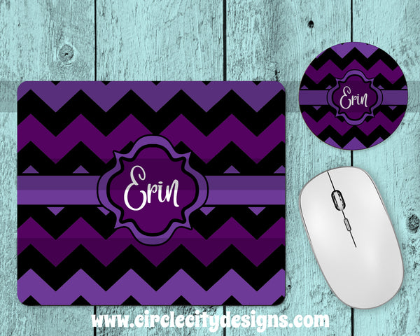 Purple and Black Mousepad and Coaster Sublimation Template