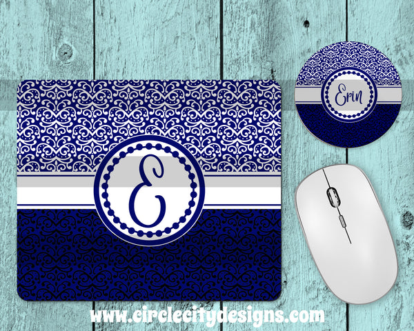 Elegent Royal Blue Mousepad and Coaster Sublimation Template