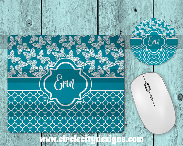 Turquoise Butterfly Mousepad and Coaster Sublimation Template