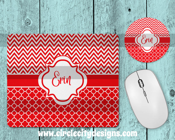 Red and White Mousepad and Coaster Sublimation Template