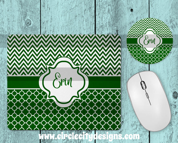 Dark Green and White Mousepad and Coaster Sublimation Template