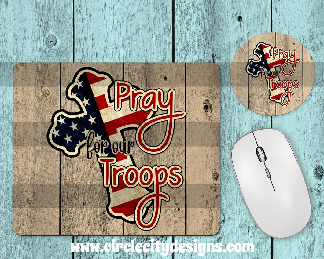 Pray for our Troops Mousepad and Coaster Sublimation Template