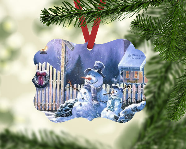 Snowman Family Benelux Shaped Christmas Ornament