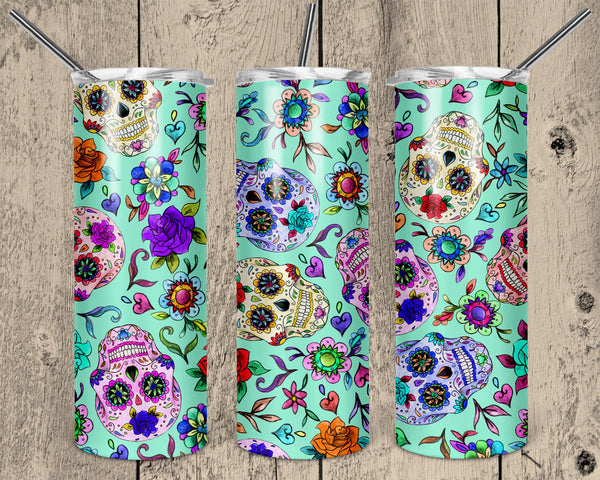 Sugar Skulls Straight or Tapered 20 oz Skinny Tumbler Sublimation Transfer