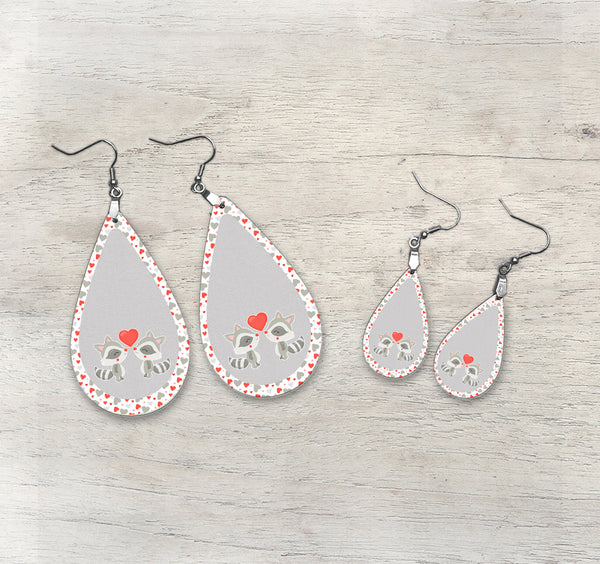 Valentine Raccoon Teardrop Earring Kit TEAR006