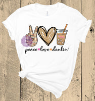 Peace Love Dunkin Sublimation Transfer TOV006