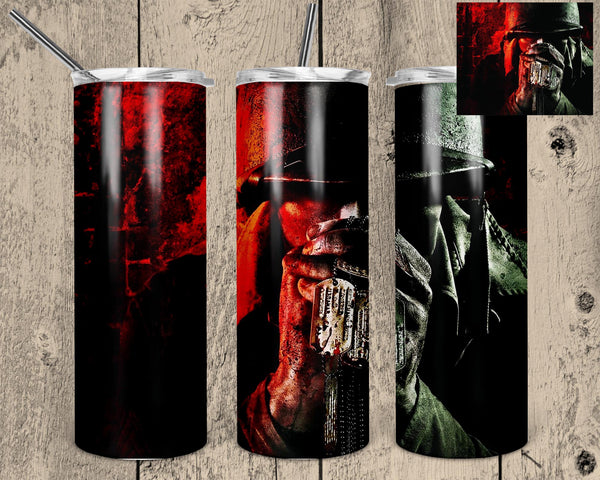 Soldier with Dog Tags 20 oz Skinny Tumbler Design
