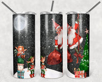 Santa and Elves Straight or Tapered 20 oz Skinny Tumbler Sublimation Transfer