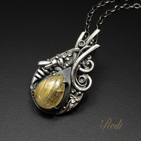 Be Queen - Fine Silver With Rutilated Quartz Bee Pendant-Pendant-Sky And Beyond Jewelry By Rodi