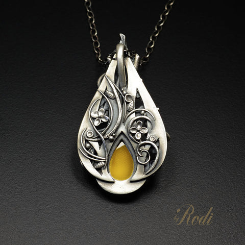 BeeHold - Fine Silver Bee Pendant With Mango Chalcedony-Pendant-Sky And Beyond Jewelry By Rodi