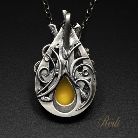 BeeLoved - Fine Silver Pendant With Mango Chalcedony-Pendant-Sky And Beyond Jewelry By Rodi