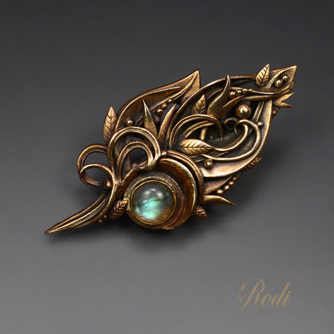 Beguiled - Bronze Brooch / Pin With Labradorite Gemstone-Brooch-Sky And Beyond Jewelry By Rodi