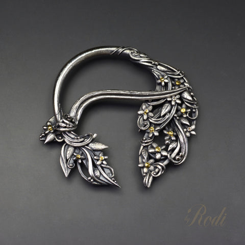 Behold – Custom Made Silver / 24k Gold Penannular Brooch-Brooch-Sky And Beyond Jewelry By Rodi