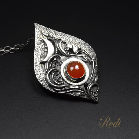 Desire - Fine Silver Floral Moon Pendant With Carnelian Gemstone-Pendant-Sky And Beyond Jewelry By Rodi