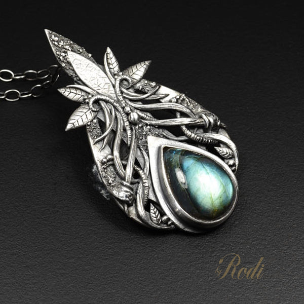 Divine Dance - Fine Silver Pendant With Labradorite-Pendant-Sky And Beyond Jewelry By Rodi