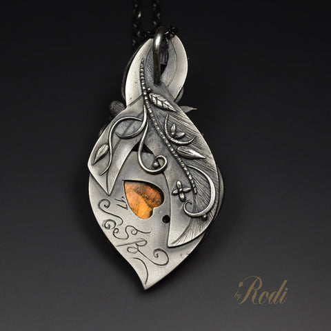Endless Fire - Fine Silver Pendant With Labradorite-Pendant-Sky And Beyond Jewelry By Rodi