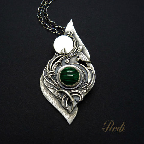 Fairy Dream - Fine Silver Pendant With Malachite-Pendant-Sky And Beyond Jewelry By Rodi
