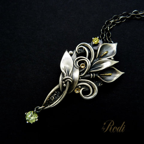 Faith II - Silver / 24k Gold Calla Lily Pendant With Cubic Zirconia-Pendant-Sky And Beyond Jewelry By Rodi