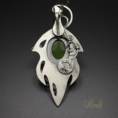 Forest Dancer - Fine Silver Fairy Leaf Pendant With Prehnite-Pendant-Sky And Beyond Jewelry By Rodi