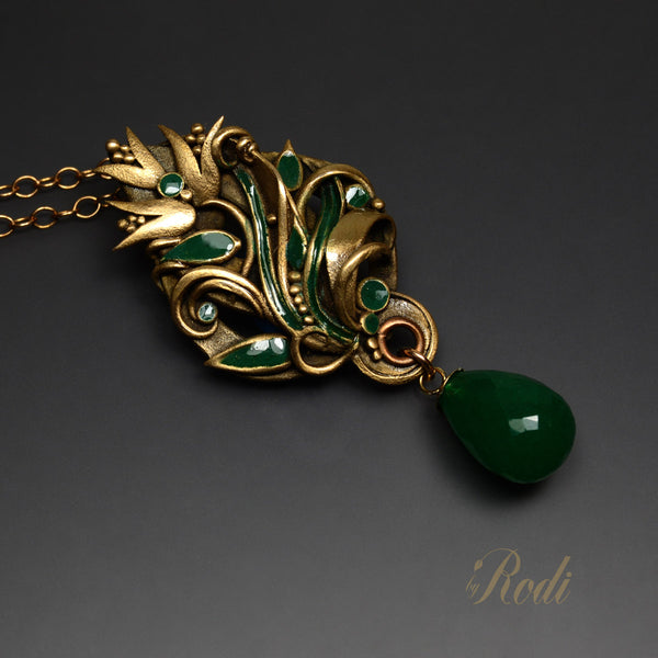 Forest Of Dreams - Bronze Pendant With Onyx-Pendant-Sky And Beyond Jewelry By Rodi