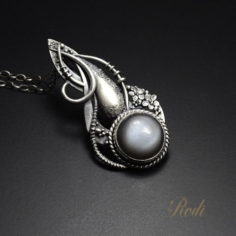 Forgiven Path - Fine Silver Pendant With Gray Moonstone-Pendant-Sky And Beyond Jewelry By Rodi