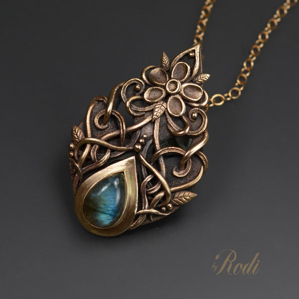 Truth - Bronze Pendant With Labradorite-Pendant-Sky And Beyond Jewelry By Rodi