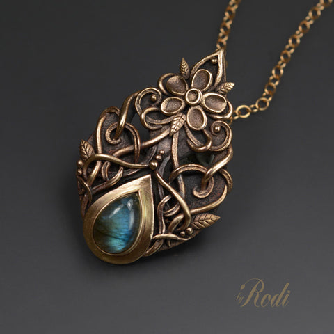 Freedom - Bronze Pendant With Labradorite-Pendant-Sky And Beyond Jewelry By Rodi