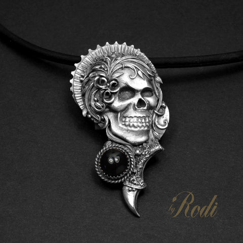Karma - Fine Silver With Onyx Skull Pendant