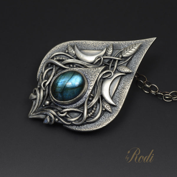 Luna Skies - Fine Silver Moon Pendant With Labradorite-Pendant-Sky And Beyond Jewelry By Rodi