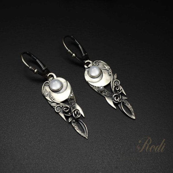 Moonlight Custom Made Silver Earrings-Earrings-Sky And Beyond Jewelry By Rodi