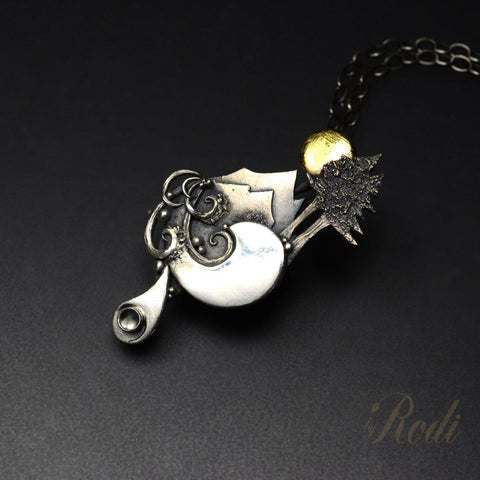 Pacific Sunrise - Fine Silver & 24k Gold Pendant With Topaz-Pendant-Sky And Beyond Jewelry By Rodi