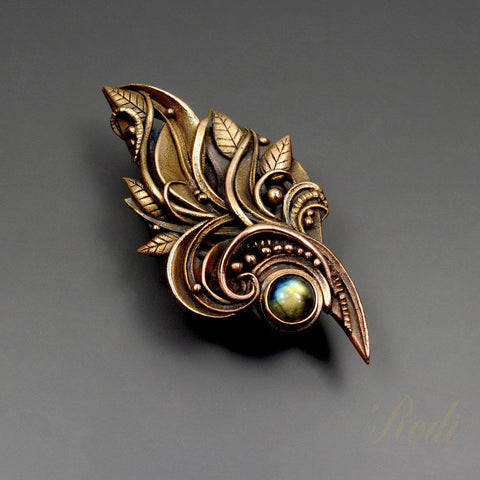 Peace - Talisman Brooch / Pin, Bronze With Labradorite Gemstone-Brooch-Sky And Beyond Jewelry By Rodi