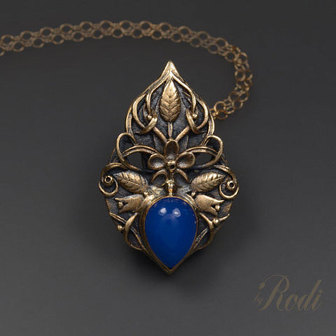 Presence - Bronze Pendant With Chalcedony-Pendant-Sky And Beyond Jewelry By Rodi