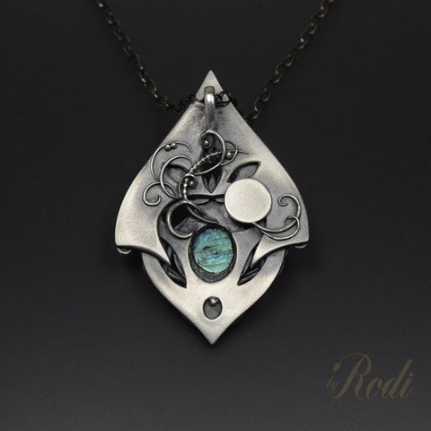 Reach For The Sky - Fine Silver Necklace Pendant With Labradorite-Pendant-Sky And Beyond Jewelry By Rodi