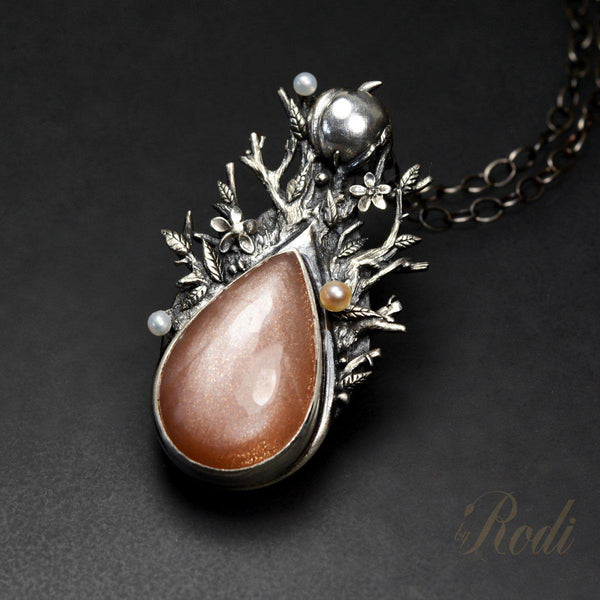 Seed Of Life - Fine Silver Pendant, With Peach Moonstone And Pearls-Pendant-Sky And Beyond Jewelry By Rodi