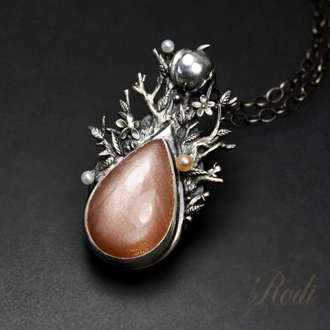 Seed Of Life - Fine Silver Pendant, With Peach Moonstone And Pearls