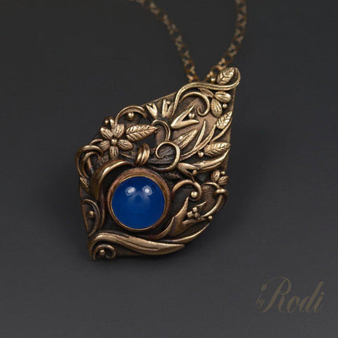 Stillness - Bronze Pendant With Chalcedony-Pendant-Sky And Beyond Jewelry By Rodi
