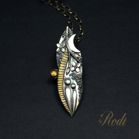 Synchronicity - Fine Silver, 24k Gold With Citrine Pendant