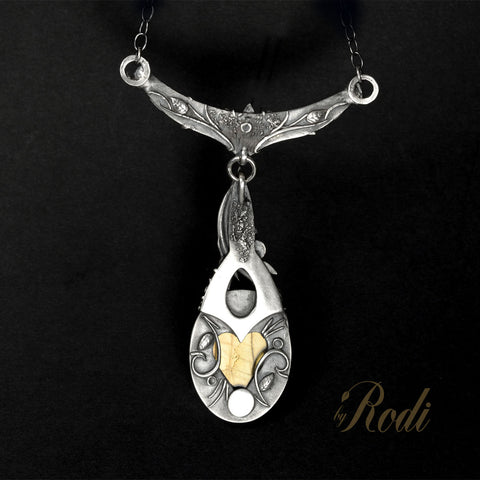Timeless - Fine Silver Pendant With Labradorite / Citrine