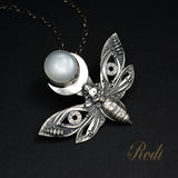 To The Light - Fine Silver Death's Head Hawkmoth With Moonstone Pendant