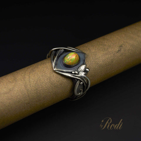 Ubuntu A Tribal Dream - Sterling Silver Ring With Natural Fire Opal-Ring-Sky And Beyond Jewelry By Rodi