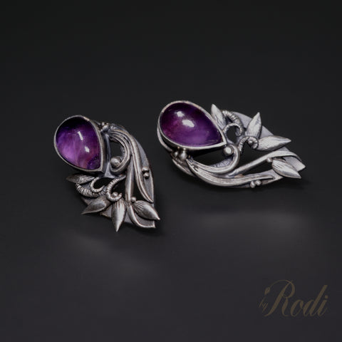 Violet Dreams – Custom Made Silver Earrings-Earrings-Sky And Beyond Jewelry By Rodi